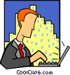 Vector Clipart picture  of a business laptop user
