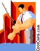 Vector Clipart image  of a business fishing
