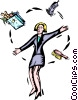 business woman juggling responsibilities Vector Clipart graphic