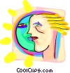 Vector Clipart illustration  of a sun/face