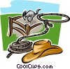 horse, cowboy hat and lasso Vector Clipart graphic