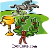 jockey on horse, trophy and wreath Vector Clip Art graphic