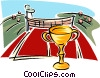 Tennis court with trophy Vector Clip Art graphic