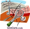 tennis racket, balls and net Vector Clip Art graphic