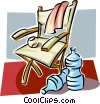Vector Clip Art image  of a Chair and water bottles
