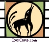 Vector Clipart image  of a howling dog