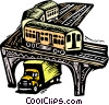 Vector Clip Art image  of a train with truck under bridge