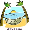 Vector Clip Art graphic  of a hammock between two palm trees