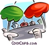umbrellas at a patio bar Vector Clip Art graphic