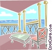 Vector Clipart graphic  of a Waterfront view