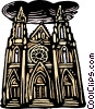 Vector Clip Art image  of a woodcut European architecture
