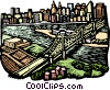 Vector Clip Art graphic  of a woodcut European architecture