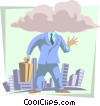 head in the clouds Vector Clip Art picture
