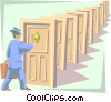 Vector Clipart picture  of a knocking on doors