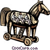 Vector Clipart illustration  of a business /woodcut Trojan horse