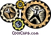 Vector Clip Art image  of a business / cogs in the wheel