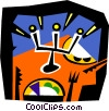 Vector Clip Art image  of a dinner setting