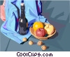 Food and dining/wine and fruit Vector Clip Art graphic