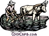 Vector Clipart graphic  of a Woodcut man working with ox