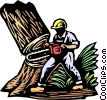 Vector Clipart picture  of a Logger cutting down tree