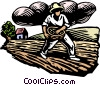 Vector Clipart graphic  of a Woodcut farming