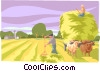 Vector Clip Art image  of a Farmer harvesting hay
