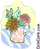 pot of various plants/flowers Vector Clip Art picture