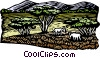 Vector Clip Art image  of a Landscape with grazing animals
