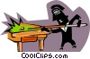 Vector Clip Art image  of a Person playing pool
