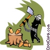 Vector Clipart image  of a chopping wood