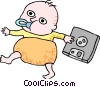 Vector Clipart picture  of a Business baby with disk
