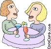 women having drinks Vector Clipart graphic