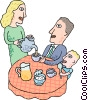 Vector Clipart graphic  of a Father having  breakfast with