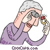 Vector Clipart illustration  of a examining a precious gem