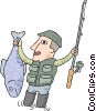 Vector Clipart graphic  of a fisherman with large fish