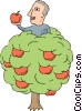 Vector Clipart image  of a man sitting in apple tree with