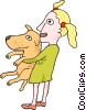 Vector Clip Art picture  of a Girl with dog