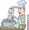 Vector Clip Art graphic  of a chef preparing soup