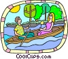 romantic boat ride Vector Clipart picture