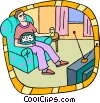 Vector Clip Art image  of a person watching television