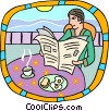 Vector Clipart graphic  of a breakfast by the shore