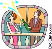 Couple popping open bottle of champagne Vector Clipart illustration