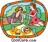 picnic in the park Vector Clipart illustration