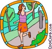 jogger waving goodbye Vector Clipart picture