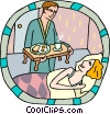 Vector Clip Art image  of a breakfast in bed