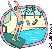 preparing to dive into pool Vector Clip Art graphic