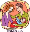 Couple with baby Vector Clipart illustration