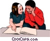 Children examining book Vector Clipart picture