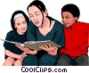 children with woman reading book Vector Clipart graphic