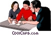 Vector Clipart illustration  of a working out problems with teacher